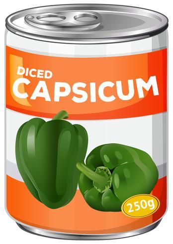 Uma lata de capsicum em cubos