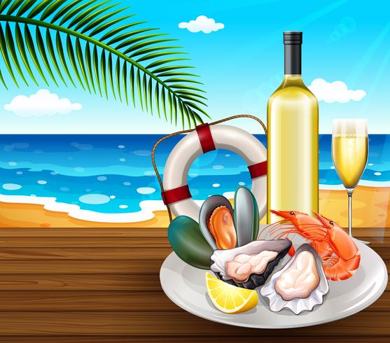 A seafood set on summer beach background vector