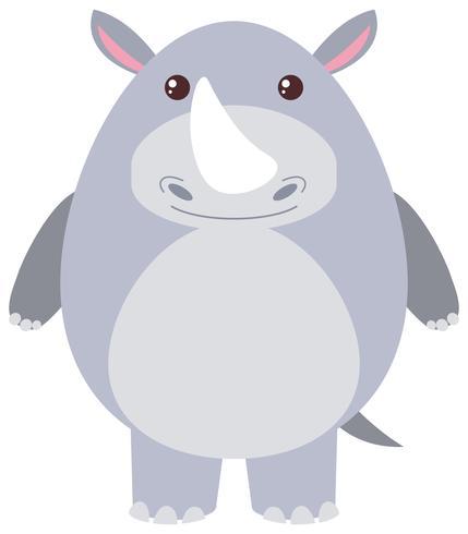 Rinoceronte carino su sfondo bianco
