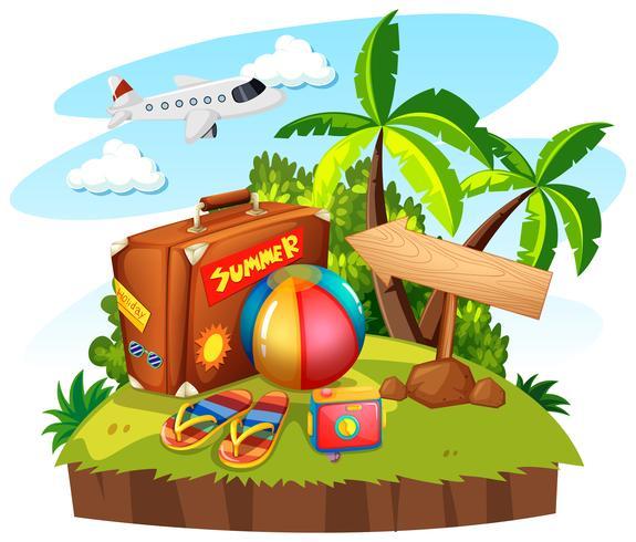 Tema de verão com bolsa e brinquedos