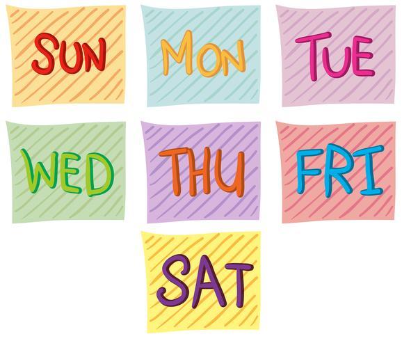 Sept jours de la semaine