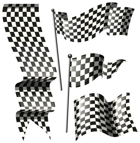 Desenhos diferentes de bandeiras de corrida
