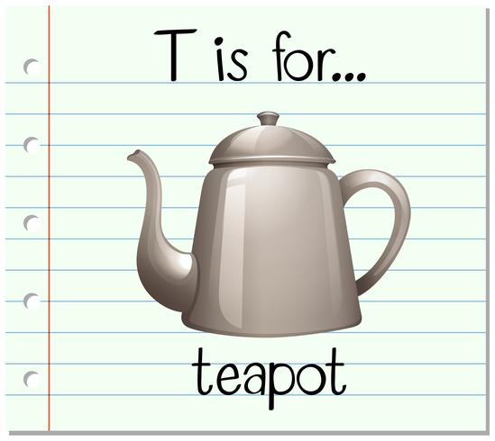 Flashcard letter T is for teapot