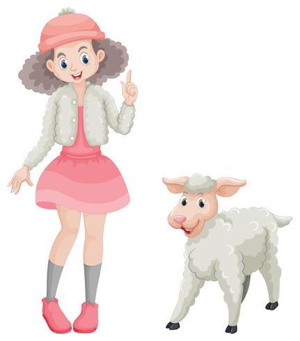 Ragazza carina e piccolo agnello