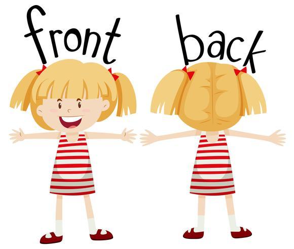 Menina com vista frontal e traseira