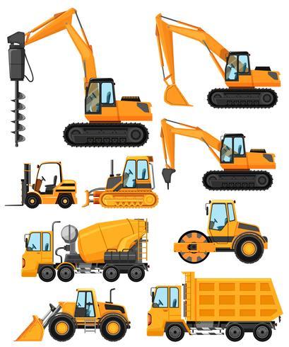 Diferentes tipos de vehículos de construcción.