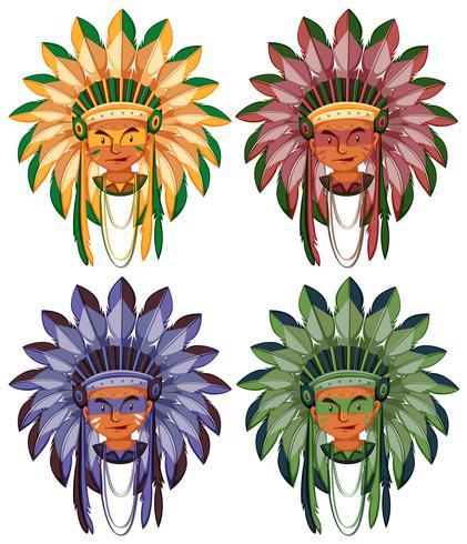 Quatro cabeças de índios nativos americanos