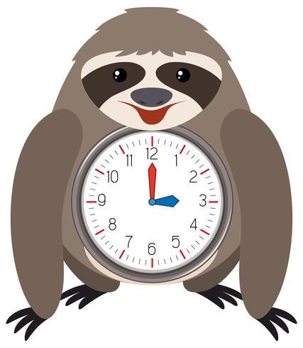 Relógio de preguiça temático fundo branco