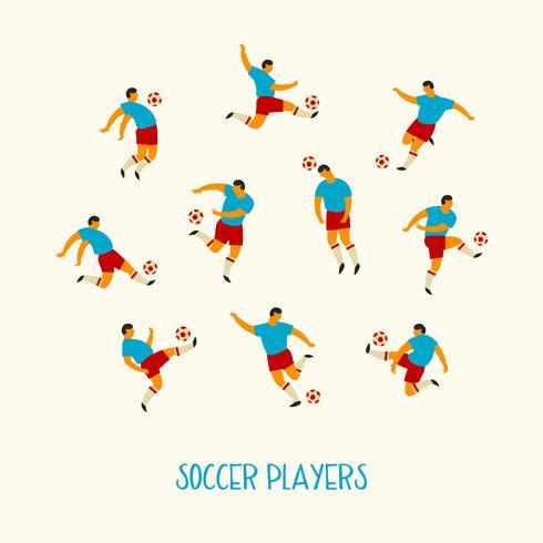 Voetbal spelers. Platte vectorillustratie