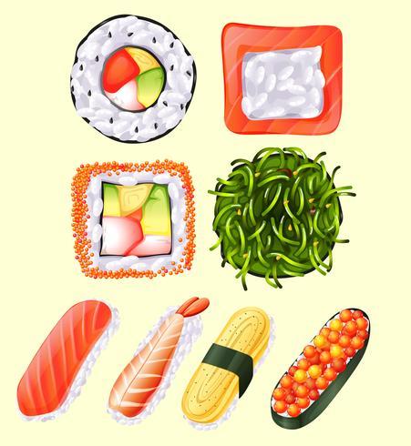 Rolo de sushi japonês e peixe cru
