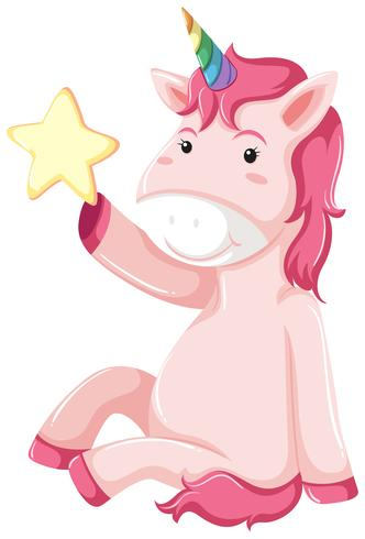 A unicorn character on white background vector