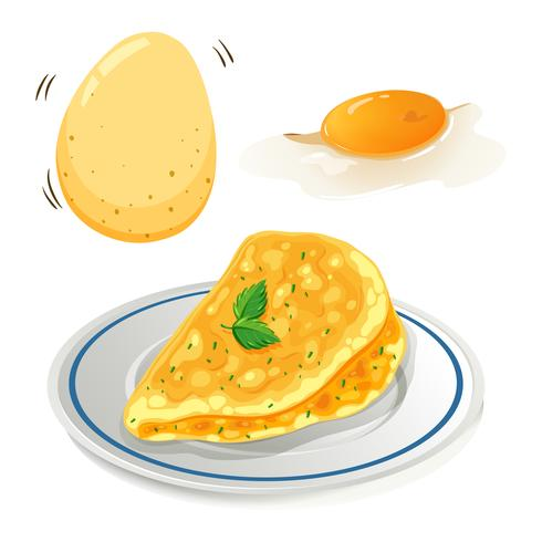 An Omelet on White Background