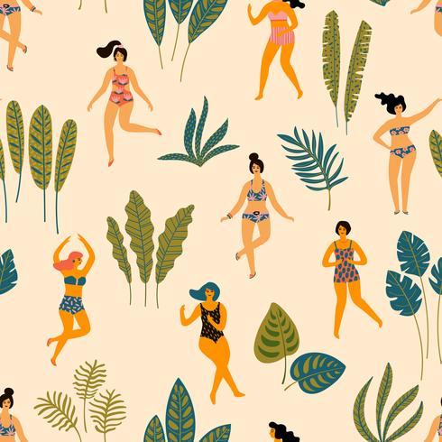Vector o teste padrão sem emenda com ladyes da dança nos roupas de banho e nas folhas de palmeira tropicais.