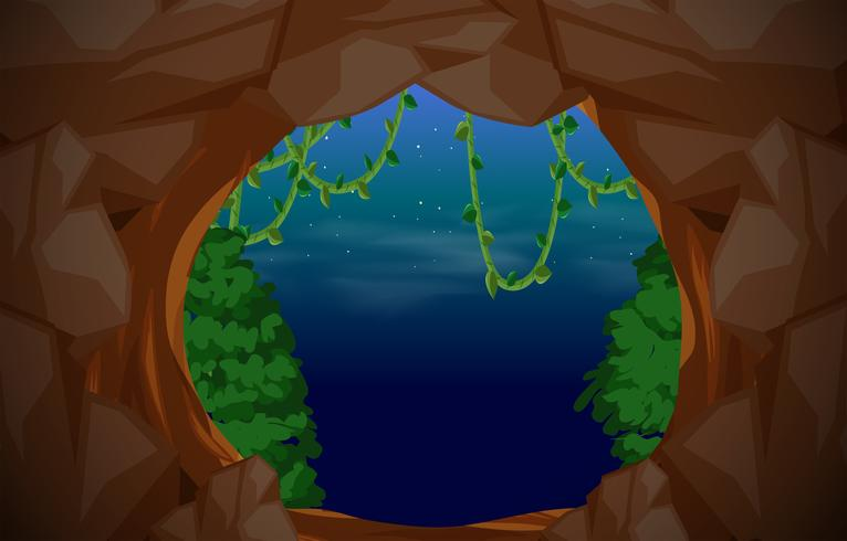 Fondo de escena de entrada de cueva