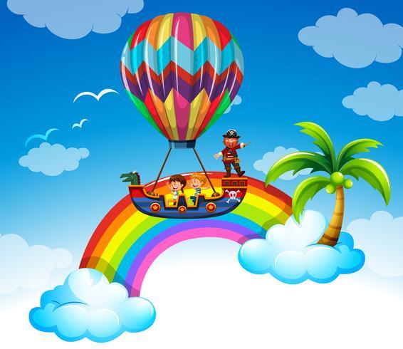 Crianças andando de balão sobre o arco-íris