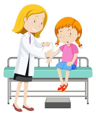 Medico che aiuta la ragazza con il braccio rotto vettore