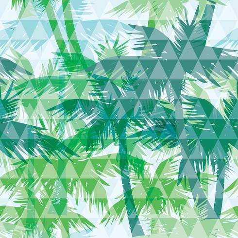 Seamless exotic pattern with palm on geometric background. vector