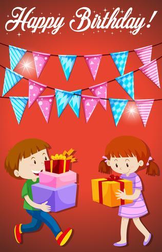 Feliz aniversário com cartão de crianças