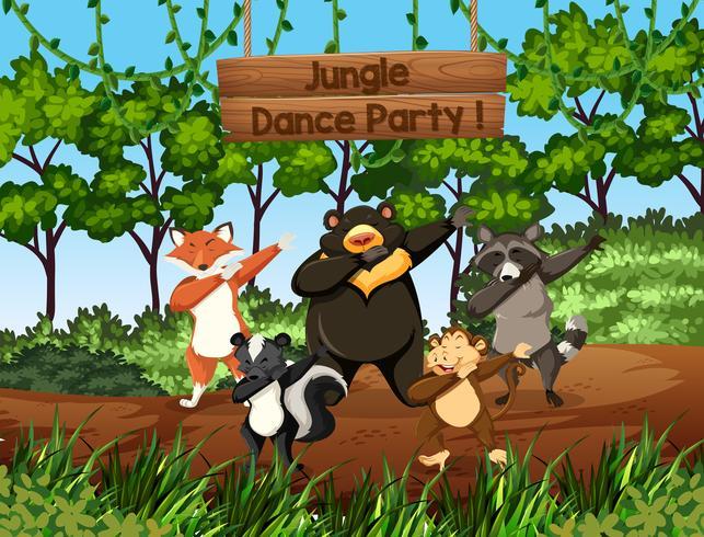 Animaux sauvages danser dans la jungle vecteur