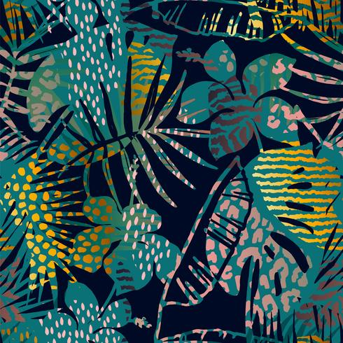 Trendy seamless exotic pattern with palm and animal prints. vector