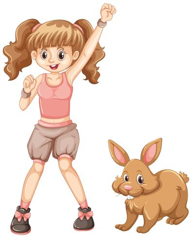 Linda garota com coelho marrom