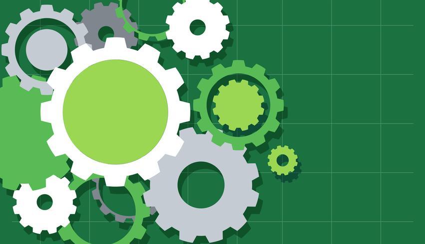 Engrenagens de engenharia no fundo verde