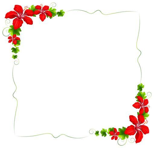 Eine Blumengrenze mit roten Blumen
