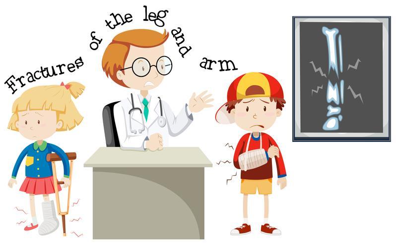 Crianças, tendo, fraturas, perna, braço