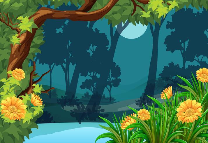 Cena de floresta com flores e lua