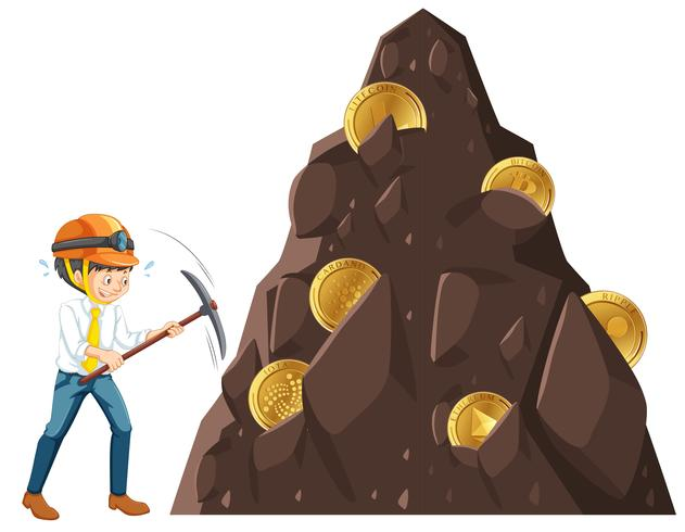 En man minskar myntet