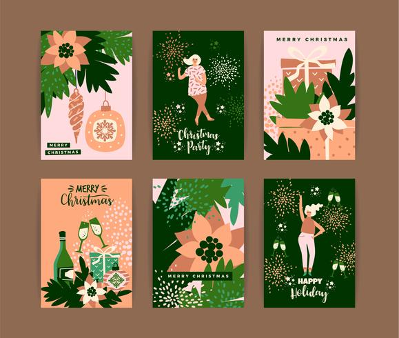 Christmas cards with dancing women and New Year s symbols.