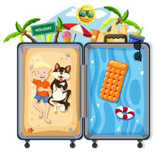 Menino e cachorro em férias de verão