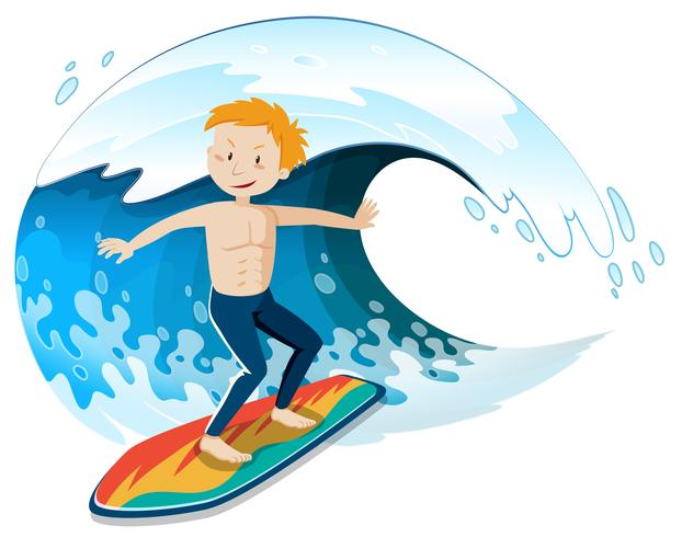 A Young Surfer Surfing a Big Wave - Download Free Vector Art, Stock Graphics & Images