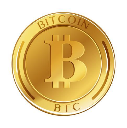 Moeda de ouro com palavra bitcoin