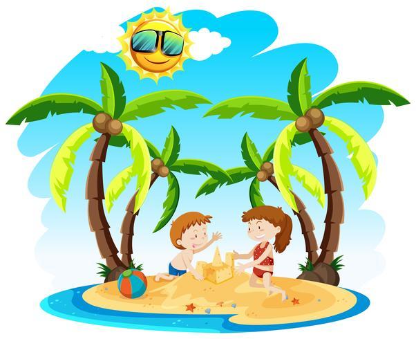 Crianças fazendo castelos de areia em uma ilha