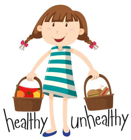 Menina e cesta com alimentos saudáveis e alimentos pouco saudáveis