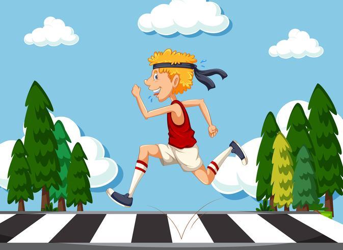 Homem magro correndo na estrada