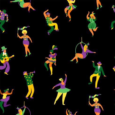 Carnaval. Padrão sem emenda com engraçado dançando homens e mulheres em trajes brilhantes