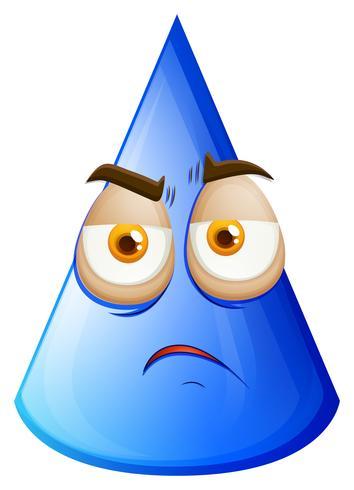 Blauer Kegel mit traurigem Gesicht