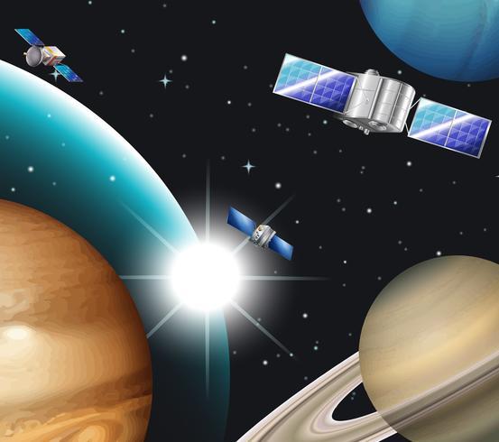 Escena de fondo con satélites en el espacio.