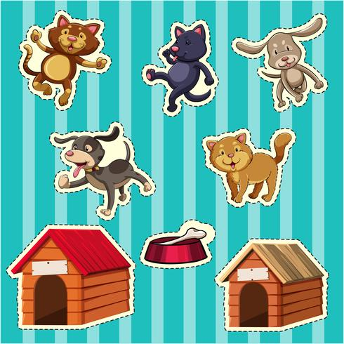 Diseño de pegatinas para perros y gatos.