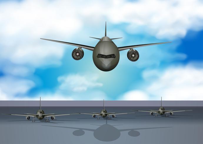 Flygplan som landar på landningsbanan
