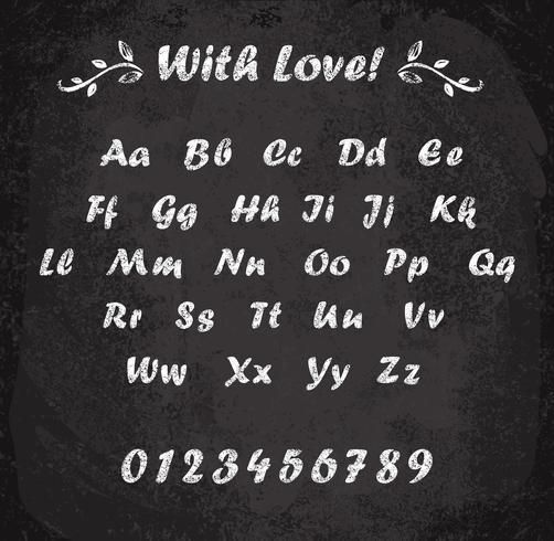 Ilustración del vector del alfabeto marcado con tiza. Textura imitacion de tiza.
