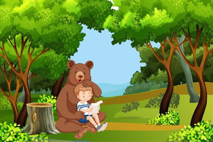 Menino e urso na floresta