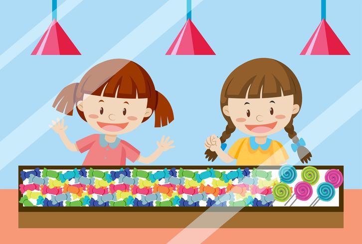 Bambini che comprano dolci caramelle
