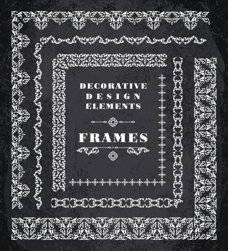 Set of Retro Vintage Frames and Borders.  Chalk Board Background vector