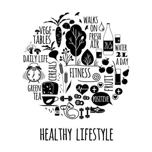 Ilustração do vetor do estilo de vida saudável.