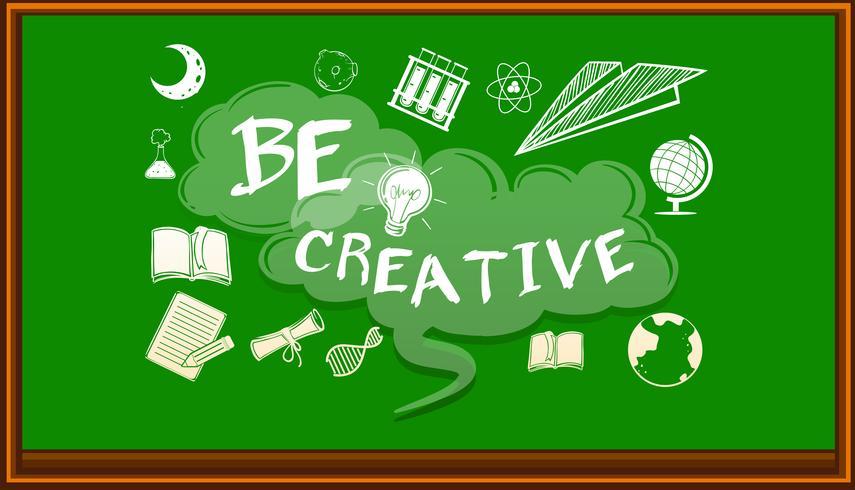 Ord på svarta tavlan säger att vara kreativ