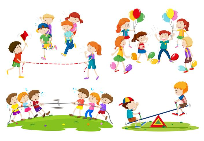 Niños jugando diferentes juegos.