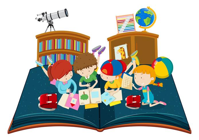 Student study in the classroom pop up book vector